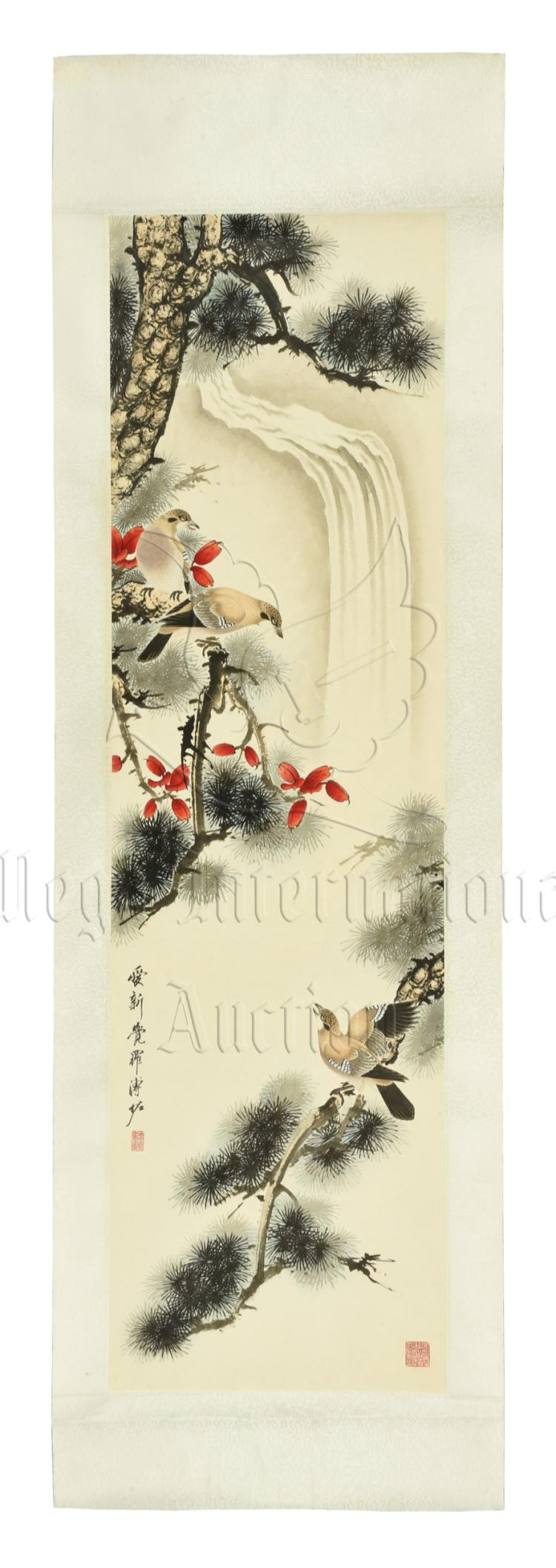 PU ZUO: INK AND COLOR ON PAPER PAINTING 'BIRDS AND FLOWERS'
