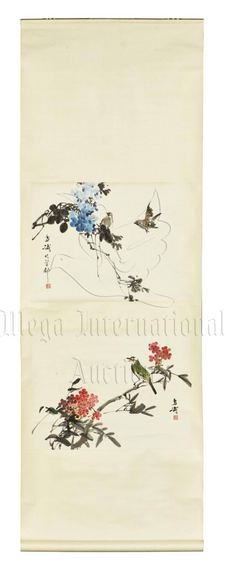 WANG XUETAO: INK AND COLOR ON PAPER 'FLOWERS AND BIRDS' PAINTING