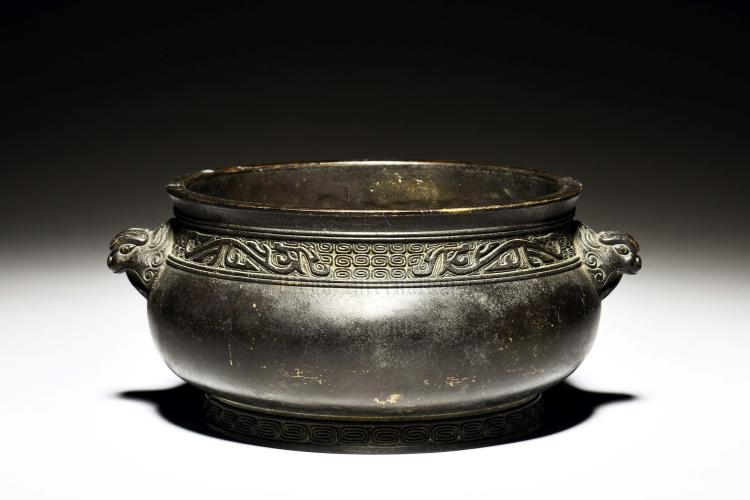 BRONZE CENSER WITH BEAST MASK HANDLES