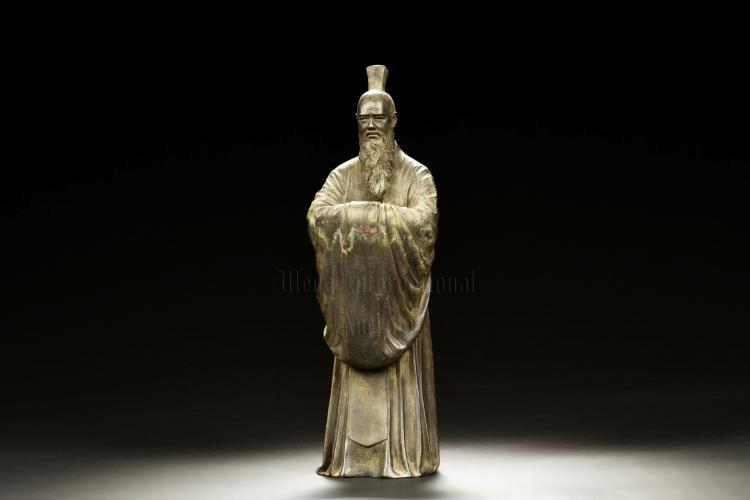 BRONZE CAST QU YUAN FIGURE