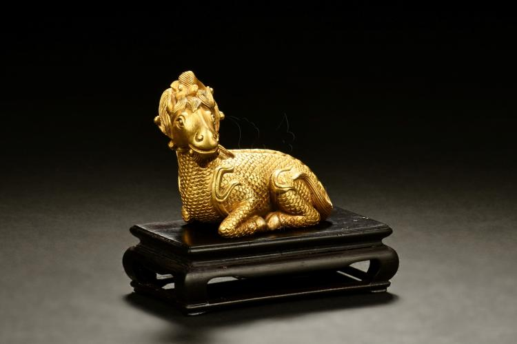 GILT BRONZE MYTHICAL RAM PAPER WEIGHT