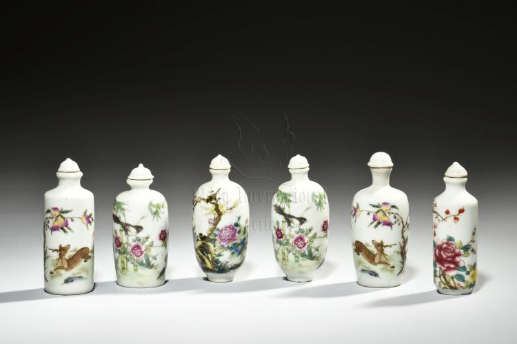 GROUP OF SIX FAMILLE ROSE SNUFF BOTTLES