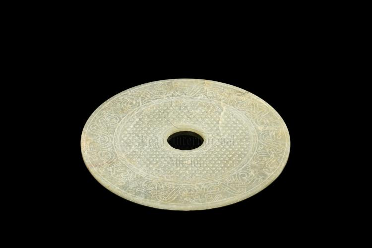 CELADON JADE CARVED LARGE DISC, BI