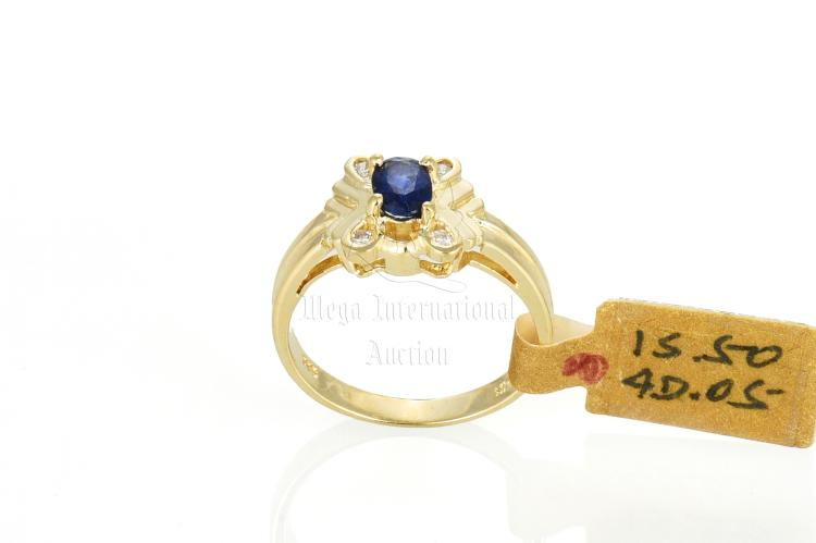 14K YG SAPPHIRE AND DIAMOND RING