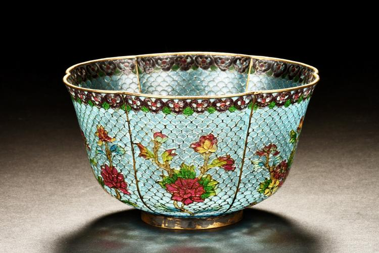 CLOISONNE ENAMELED AND GLASS LOBED 'FLOWERS' BOWL