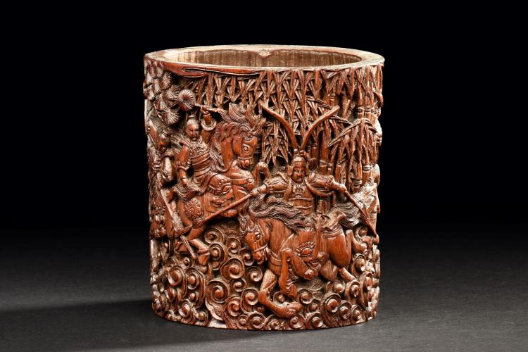 BAMBOO CARVED 'WARRIORS' BRUSH POT