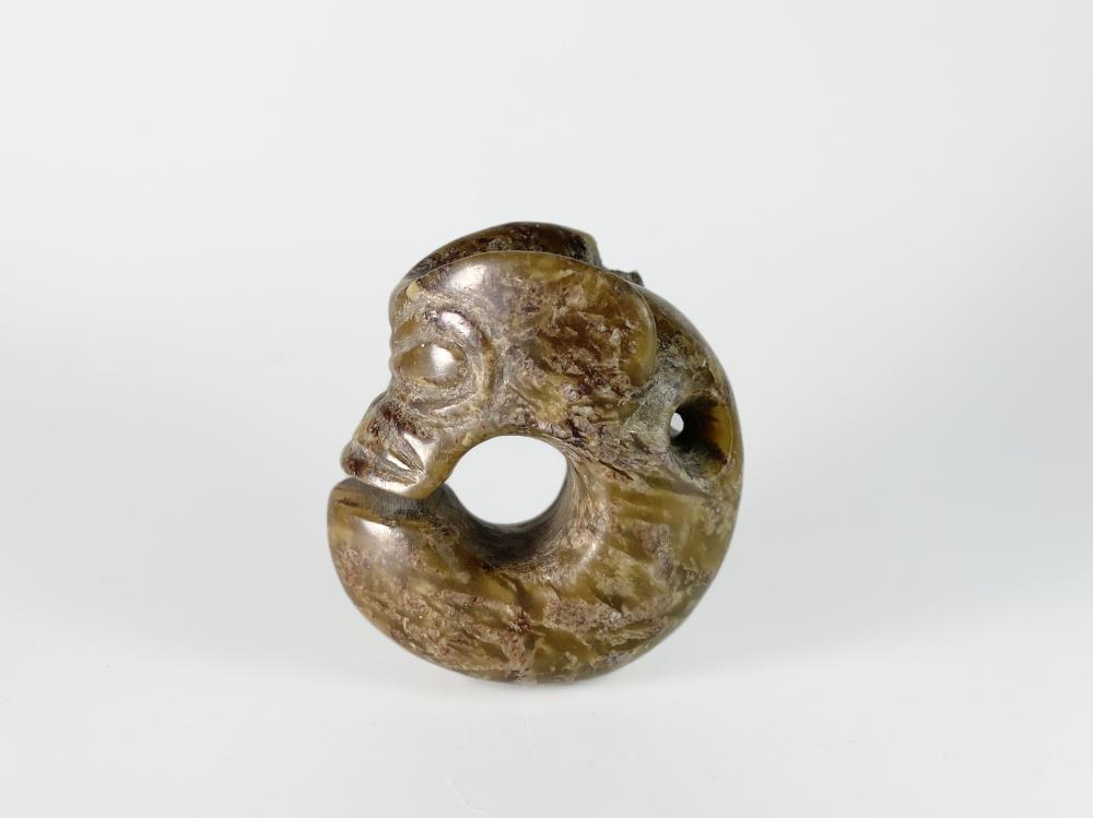 ARCHAIC JADE CARVED 'PIG DRAGON' ORNAMENT