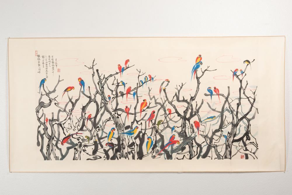 WU GUANZHONG: INK AND COLOR ON PAPER PAINTING 'PARROTS'
