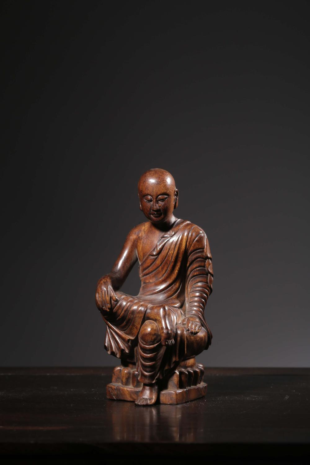 HUANGHUALI WOOD CARVED 'LUOHAN' SEATED FIGURE