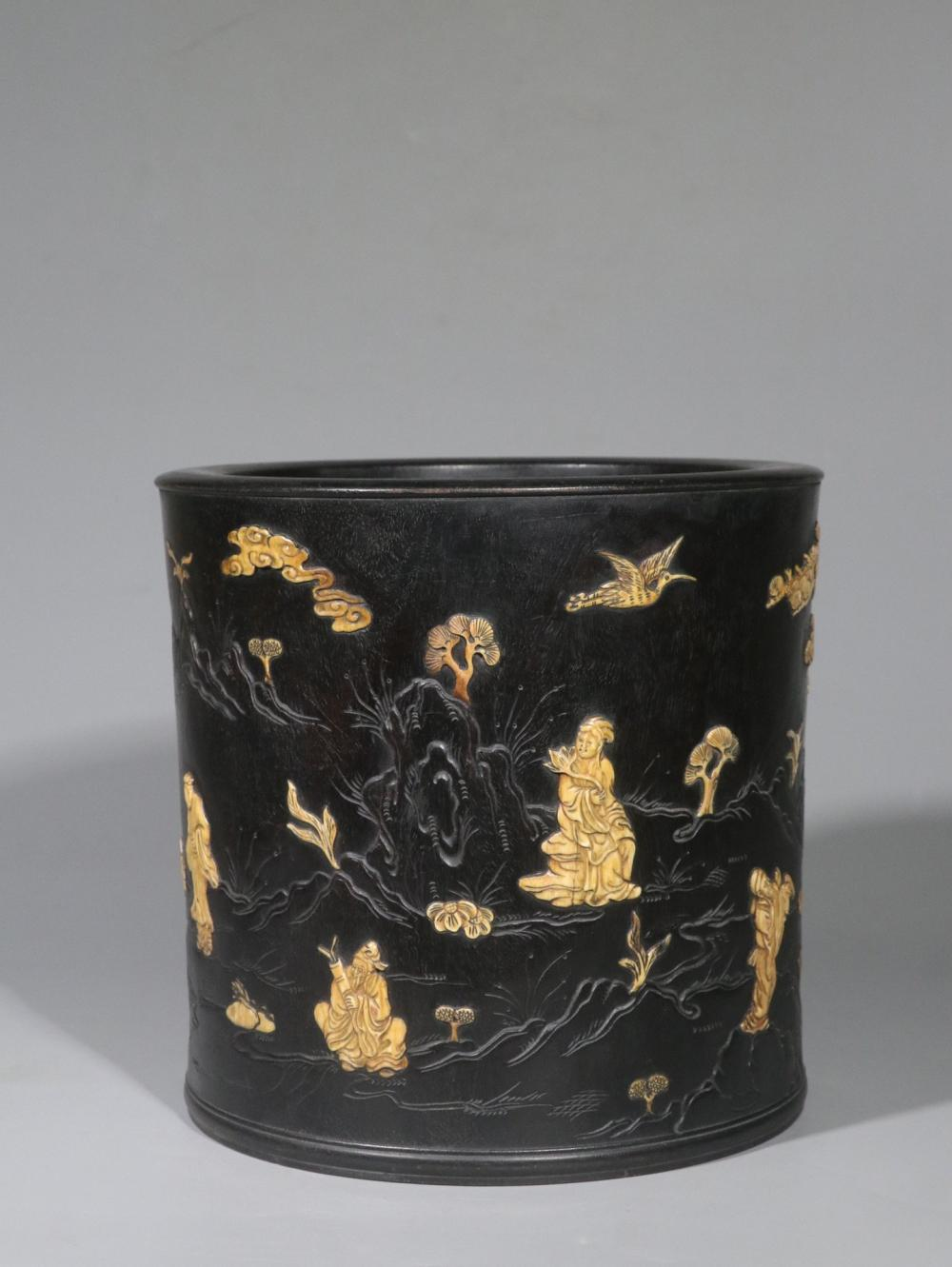 ZITAN WOOD CARVED AND DECORATED 'EIGHT IMMORTALS' BRUSH POT