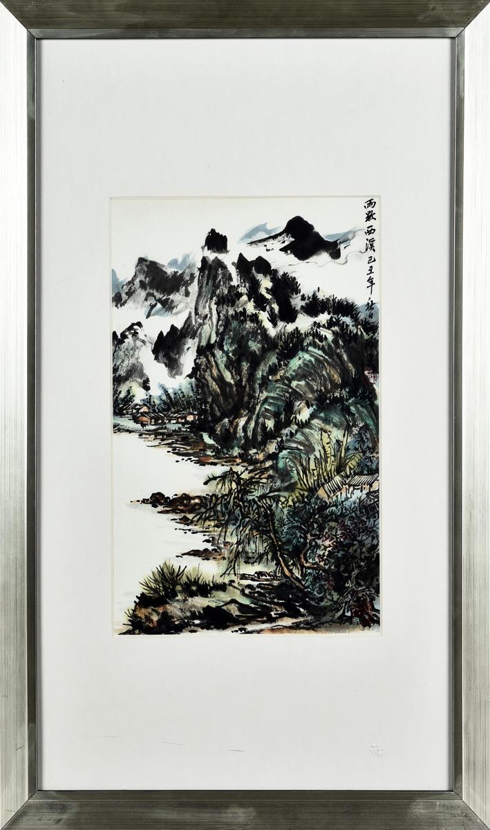 FRAMED LANDSCAPE PAINTING BY HONG BO