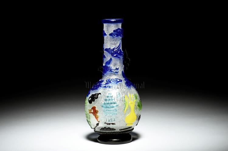 Multi Color Overlay White Glass Bottle