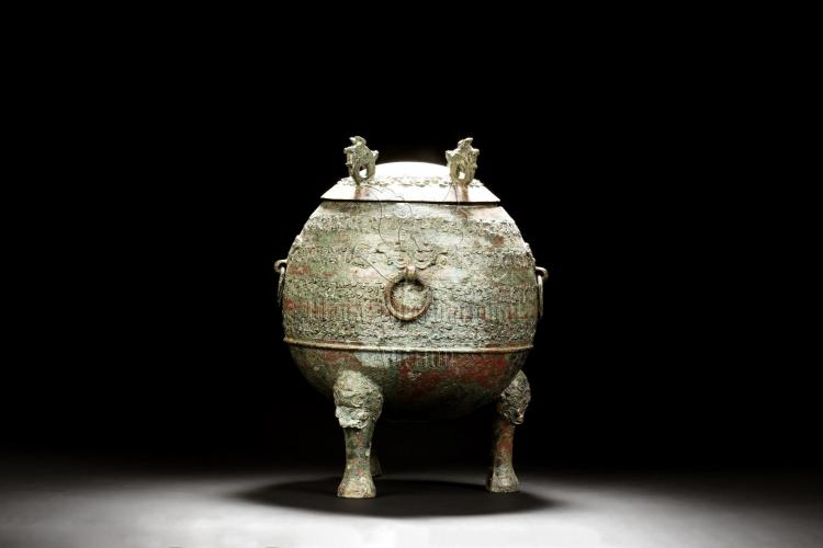 Archaic Bronze Cast Tripod Ritual Vessel Dun