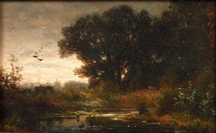 Dietrich Langko, attr., Abend am Weiher
