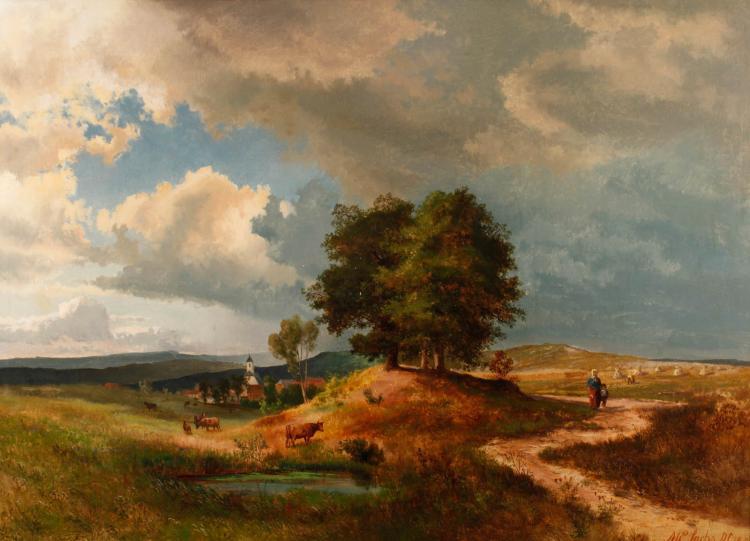 Michael Sachs, Eifellandschaft mit Kirchdorf