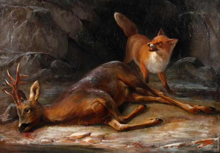 Friedrich Zahn, attr., Fuchs mit erlegtem Rehbock
