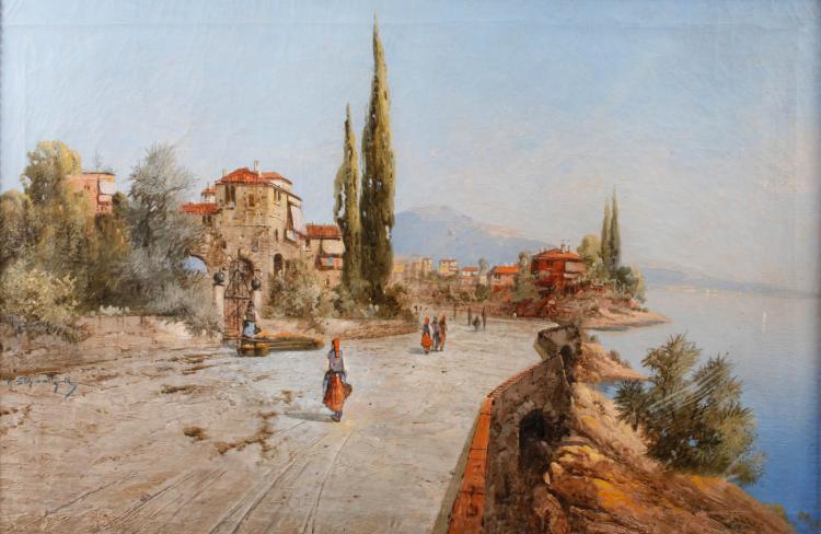 Karl Kaufmann, attr., Mediterrane Küstenpromenade