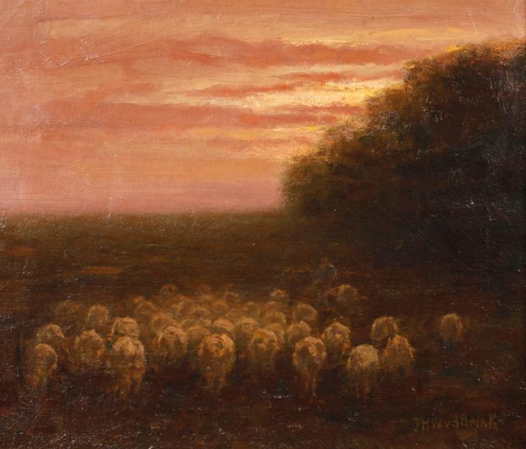 Jan van den Brink, Schafherde in der Abenddämmerung