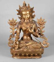 Bronzeplastik weiße Tara
