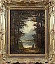 Heinrich Berger, Landschaft mit See und Wanderer