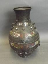 A C19th Chinese bronze and cloisonné vase