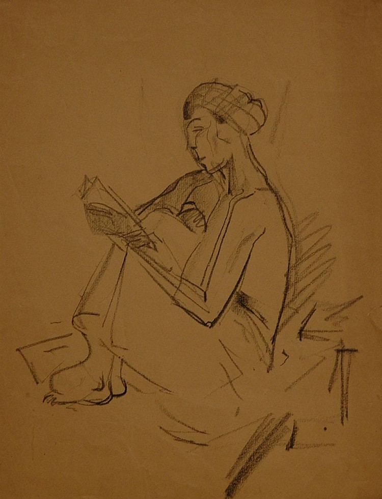 DIETRICH Hanus *30.6.1868 Suchdol) Girl reading a