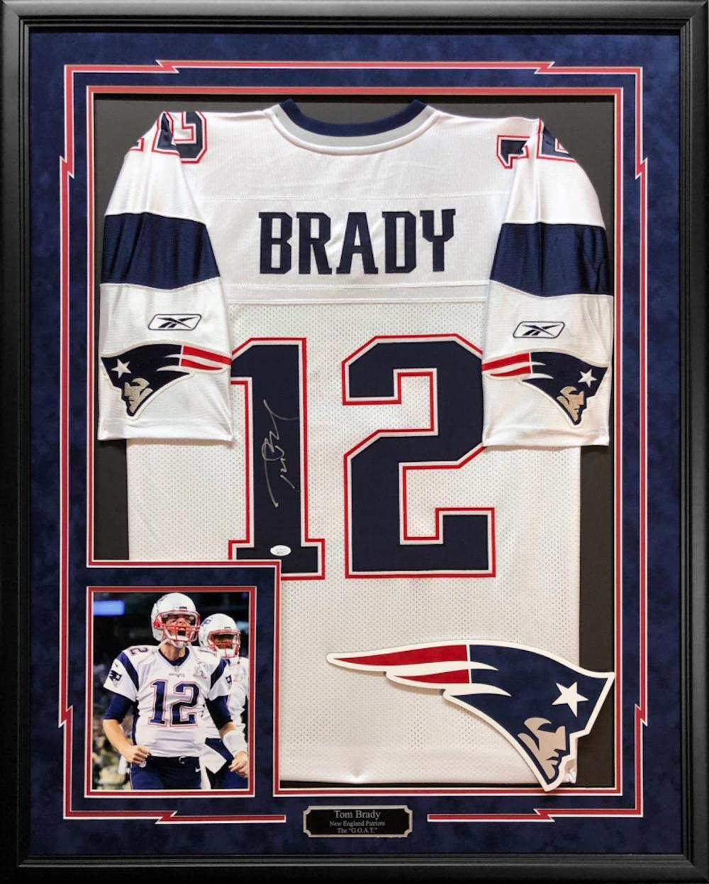 Tom Brady Signed 34.5x42.5 Custom Framed Reebok Jersey (JSA LOA)