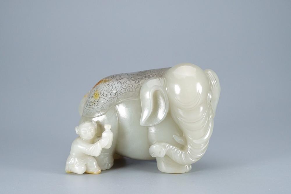 HETIAN JADE 'BOY AND ELEPHANT' GROUP
