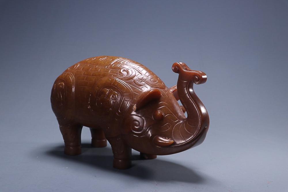 HETIAN JADE 'ELEPHANT' CARVING