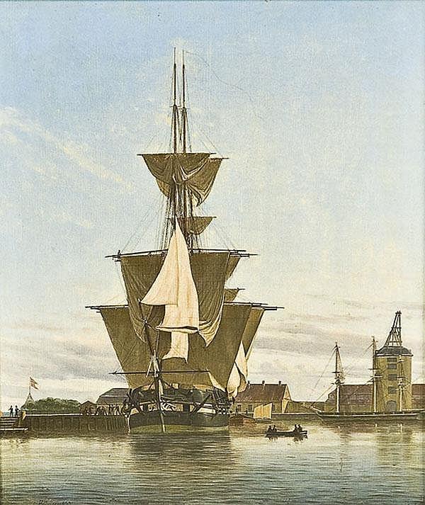 Julius Prömmel (1805-1844) Segelschiffe in einem