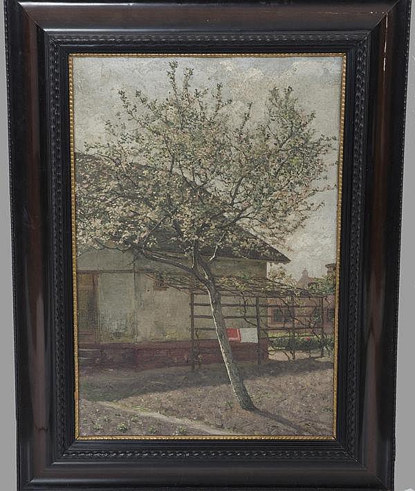 Karl Dussault (1860-1930). Blühender Baum vor