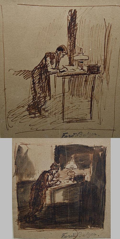 Ferdinand Balzer (1872-1916). Mann an Schreibpult.