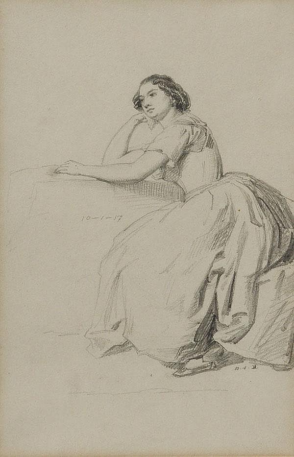 Louis Coblitz (1814-1863). Sitzende Frau mit