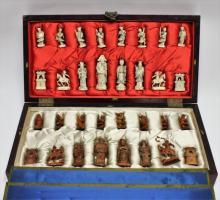 1920's Asian Ivory Carved Chinese Chess Board Set
