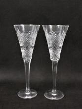 (2) Waterford Wedding Heirloom Champagne Flutes