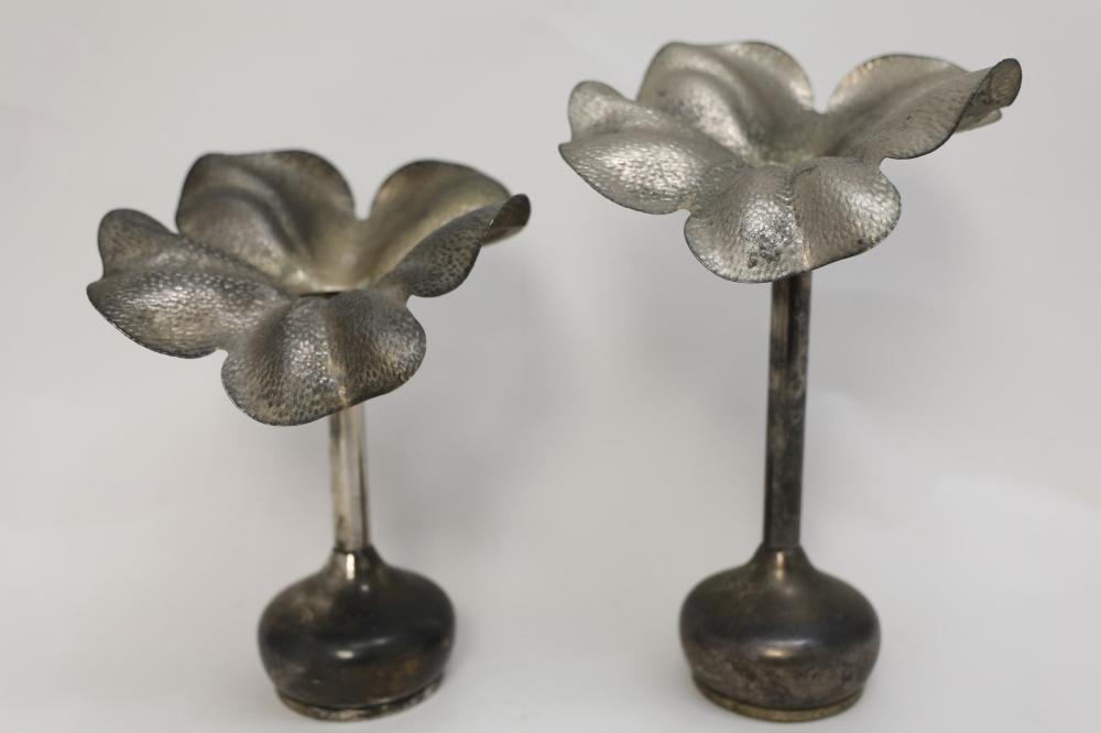 Pair Godinger MCM Silver Plated Flower Vases