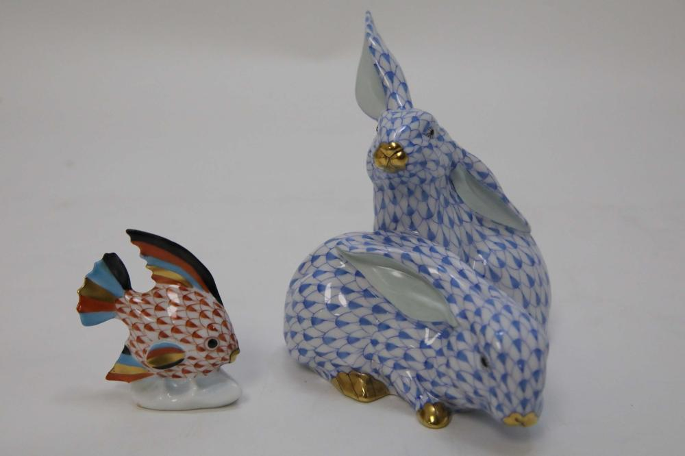 (2) pc Herend Hungary Blue Bunny & Red Fish Group