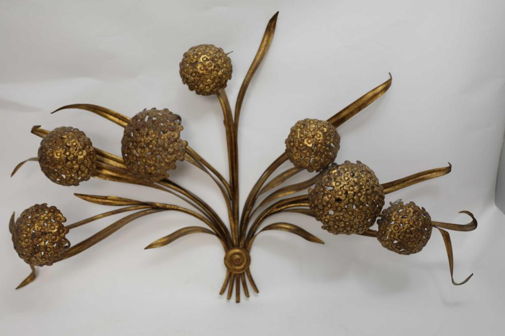 70's Palladio Italy Gold Floral Wall Sculpture