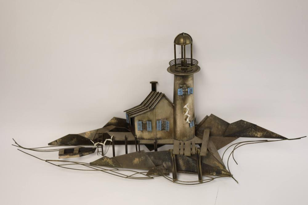 Curtis Jere Sculpture Lighthouse on Shoal w Dock