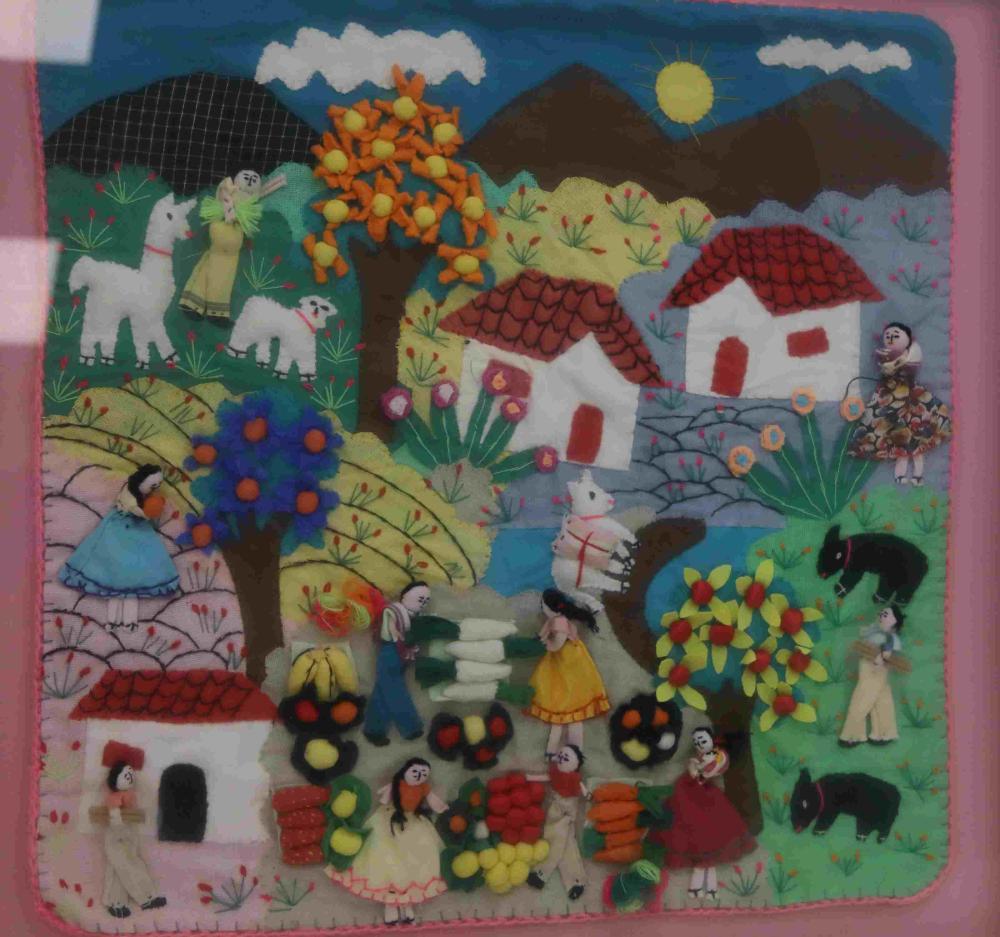 Peruvian 3D Fabric Folk Art w Village Farming Life