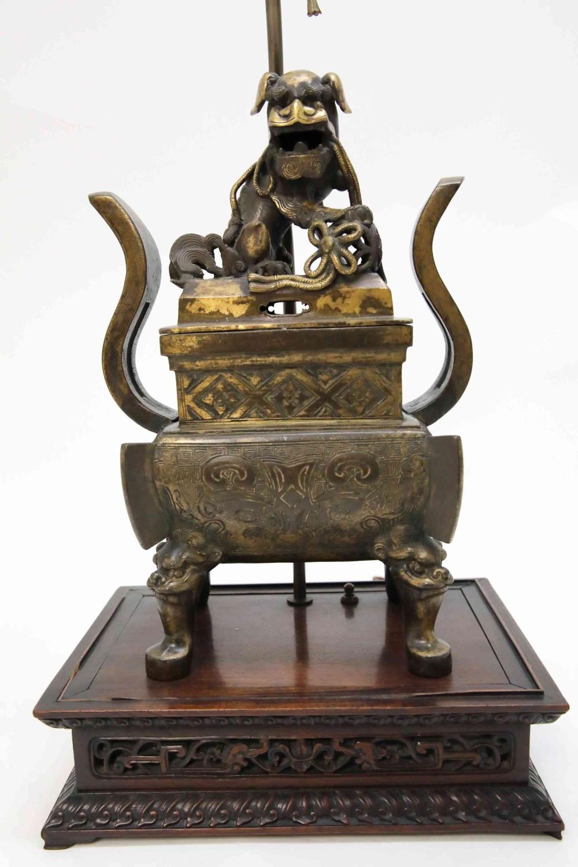 19c Chinese Bronze & Gold Sensor w Shishi Lion
