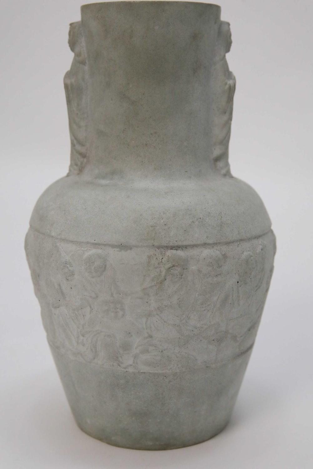 Chinese Celadon Clay Chinese Vase w Wise Men