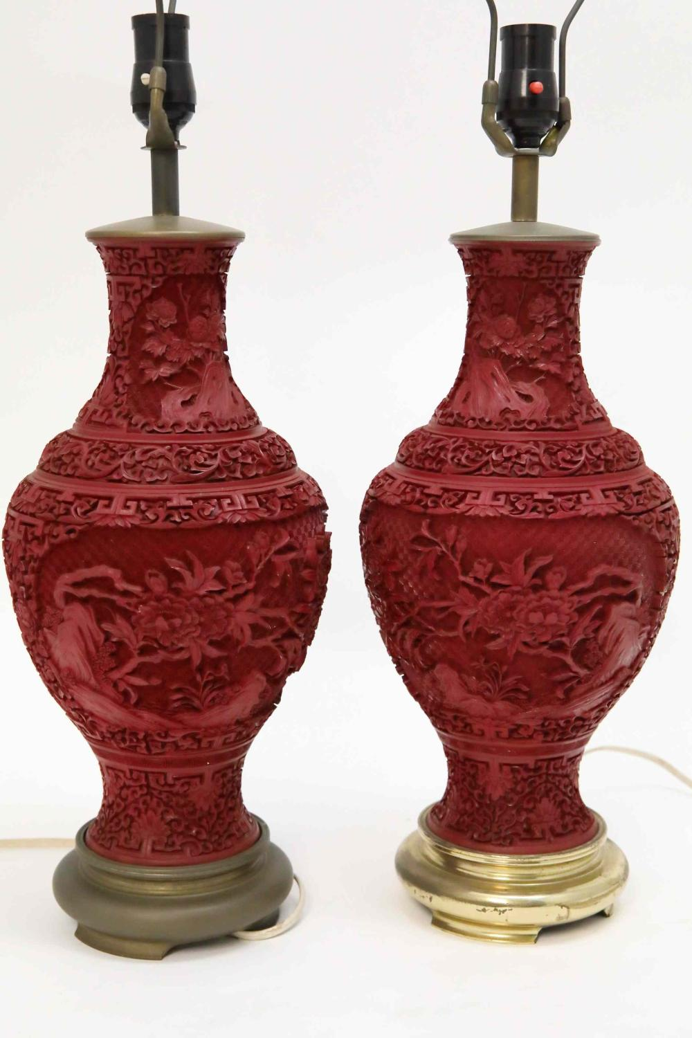 Pr Lg Chinese Cinnabar Vases mounted as Lamps