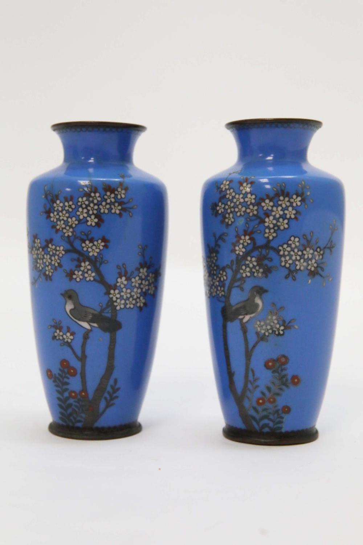Pr Oriental Silver Wire Cloisonne Vases w Birds