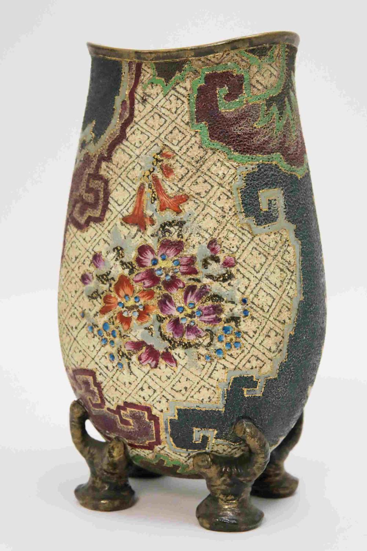 Art Nouveau Naturalist Sand Ware w Glaze Vase