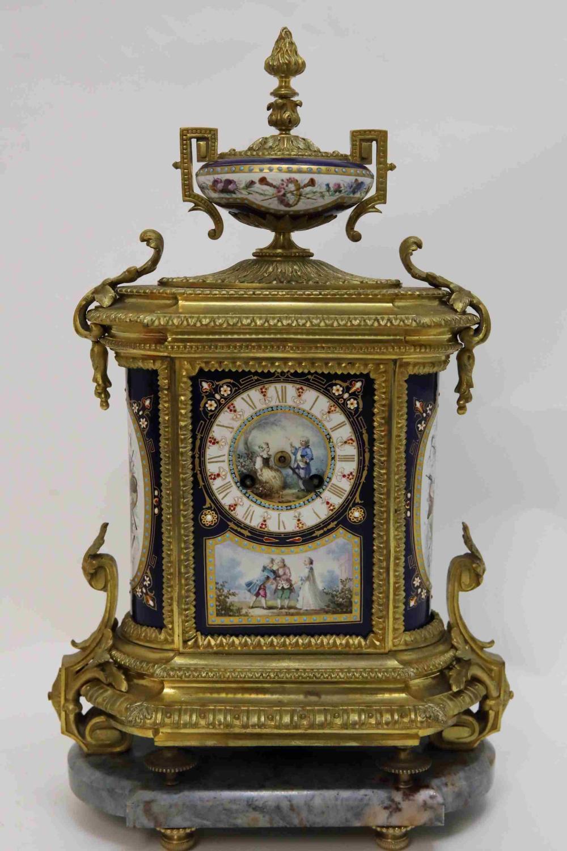 Sevres Jeweled & Enameled Porcelain Louis XV Clock