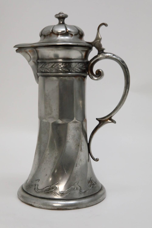 Lg Art Nouveau Silver Claret Jug or Beer Pitcher