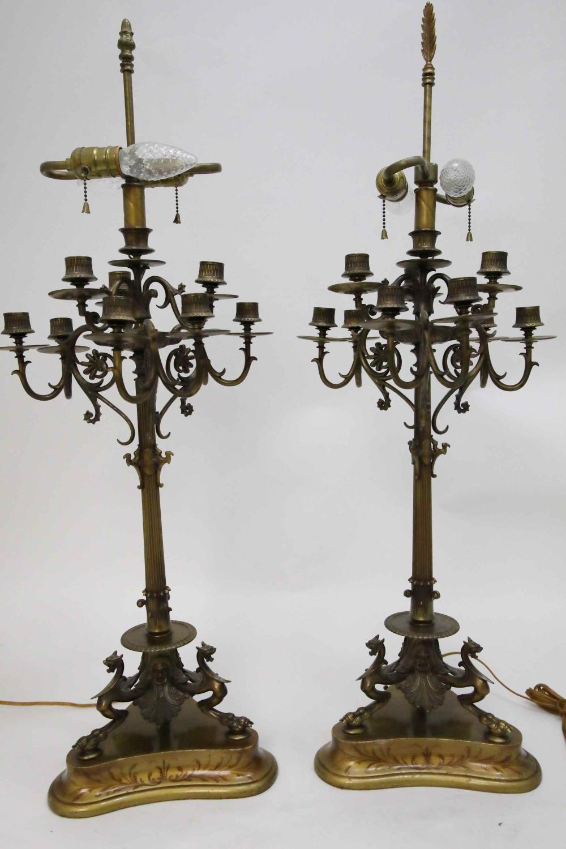 Pr Barye French 9 light Dragon Candelabra Lamps