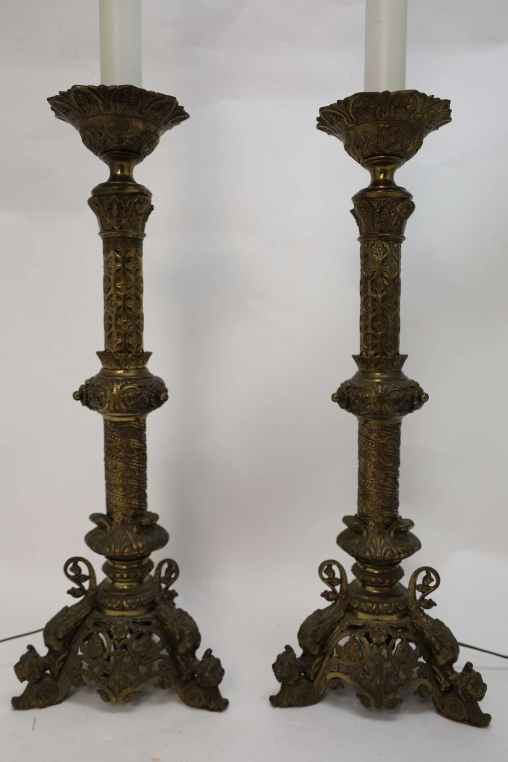 Pr 19c Griffin Footed Brass Prickets now Lamps