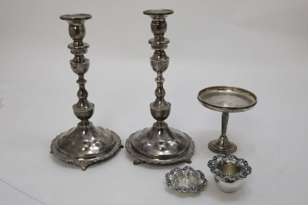 Pr Mexican Sterling Candlesticks, Holders, Compote